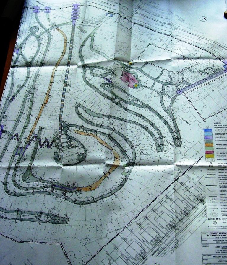 Projekt ukształtowania terenu Parku Pod Kopcem Powstania Warszawskiego (rysunek z projektu firmy ABIES)
