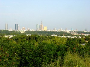 widok z Kopca na panoramę Warszawy w 2005 r